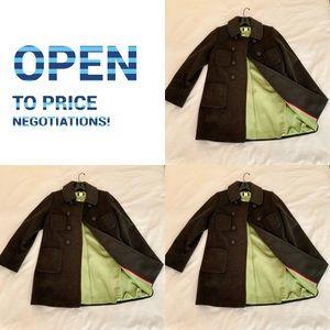 J Crew Wool Gray Pea Coat with Green Interior